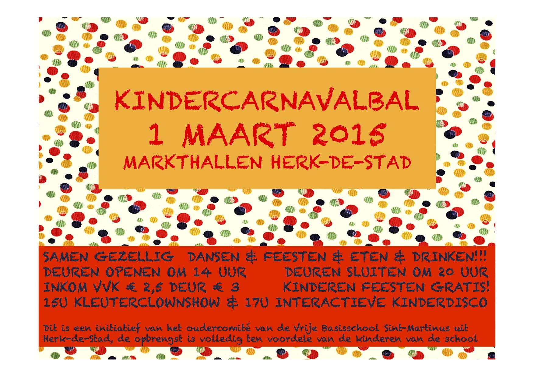 AFFICHE KINDERCARNAVALBAL 1 MAART 2015 FINAL kopie